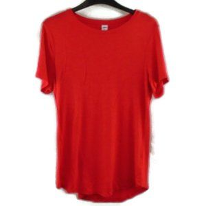 Old Navy Luxe Shirt S Red Short Sleeve Stretchy